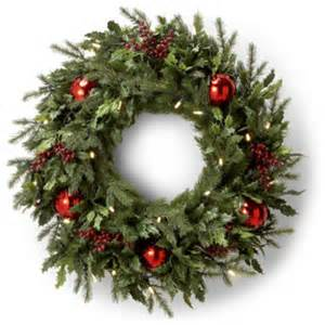 battery operated holly and berry christmas wreath