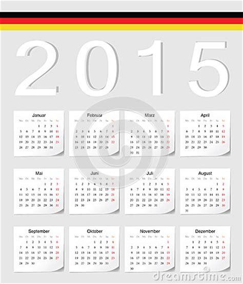 Calendrier O L 2015 Calendrier De L Allemand 2015 Illustration De Vecteur