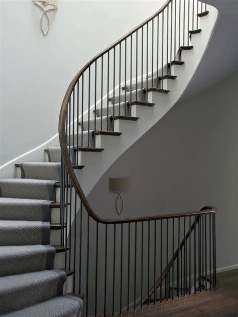 Winding Stair Contemporary Stair Runners Design Ideas