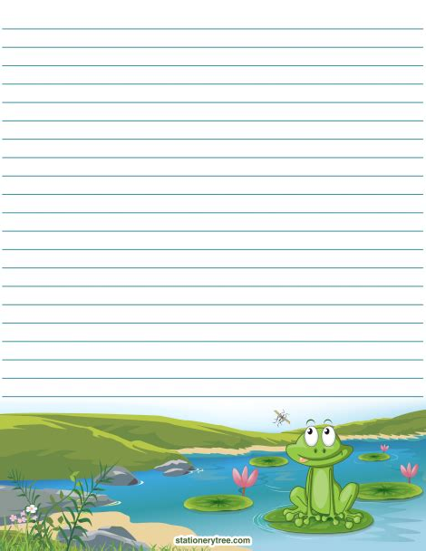 frog border writing paper printable frog stationery