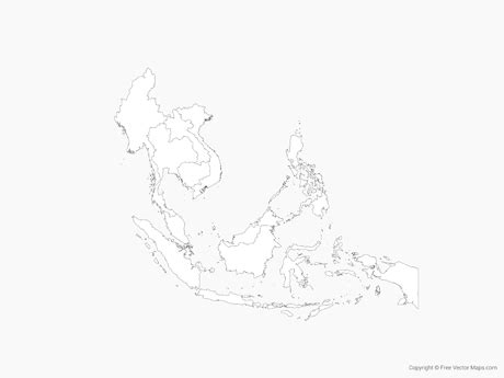 Free Asia Outline Map Vector by Vector Map Of Southeast Asia With Countries Outline Free Vector Maps