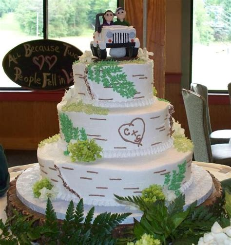 jeep cake topper birch bark wedding cake with jeep topper wedding cakes