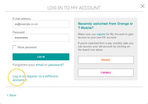 log in to your home broadband home phone and ee tv account