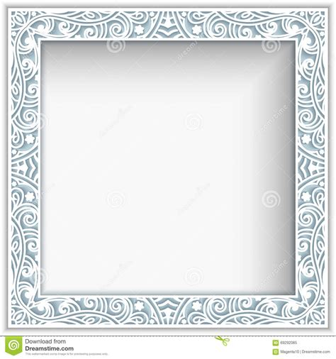 square paper lace frame stock vector image 69292085