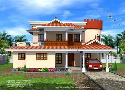 bhk indian style home designed and construction green