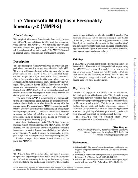 test mmpi the minnesota multiphasic personality inventory 2 mmpi 2