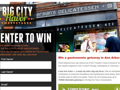 Instant Win Cash Sweepstakes - big city flavor instant win sweepstakes