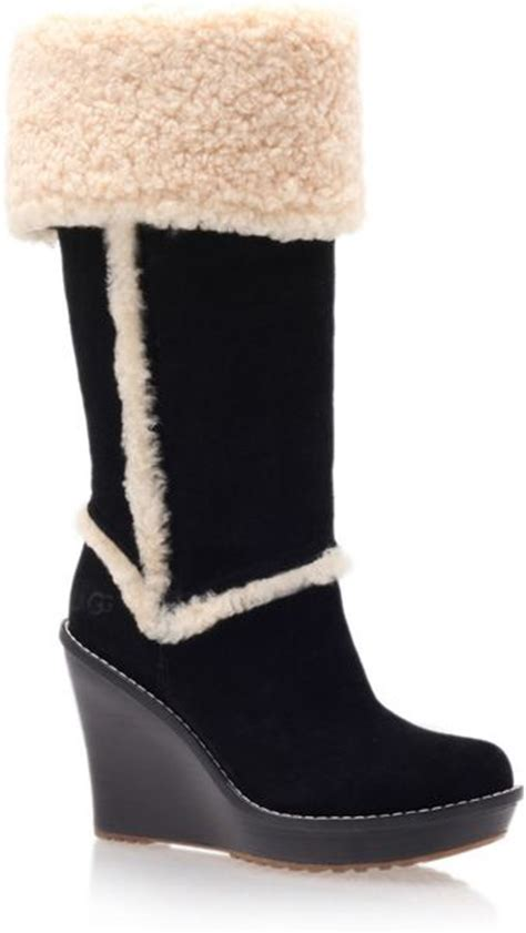 ugg black aubrie wedge boots in black lyst