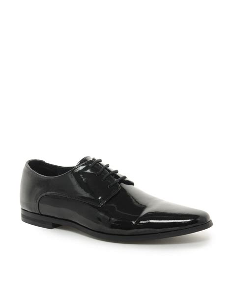 asos shoes asos asos derby shoes in patent in black for lyst