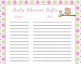 Printable Baby Shower Gift List Template Baby Shower Gift List Printable Baby Shower Party