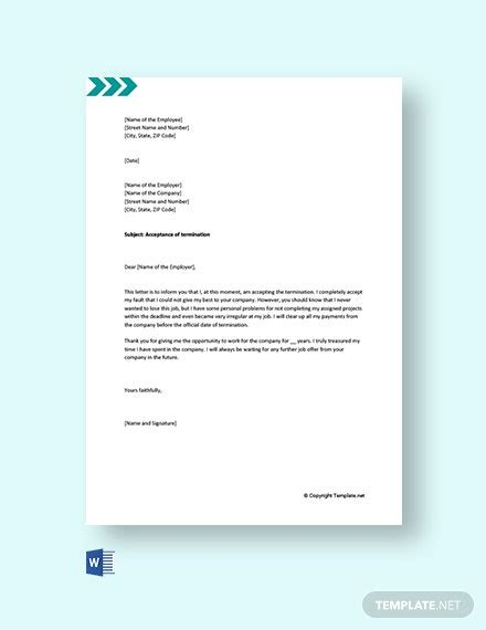 termination services letter supplier template