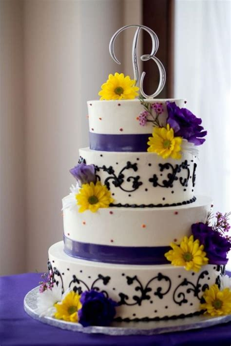 Wedding Cakes With Yellow And Purple Flowers by Beautiful Combination Purple And Yellow For Wedding