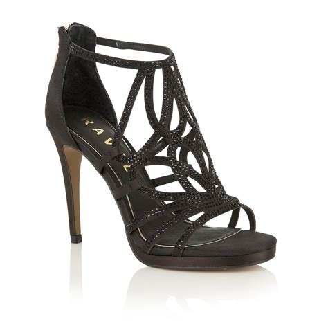 womens black heeled sandals buy ravel blanco heeled sandals in black satin