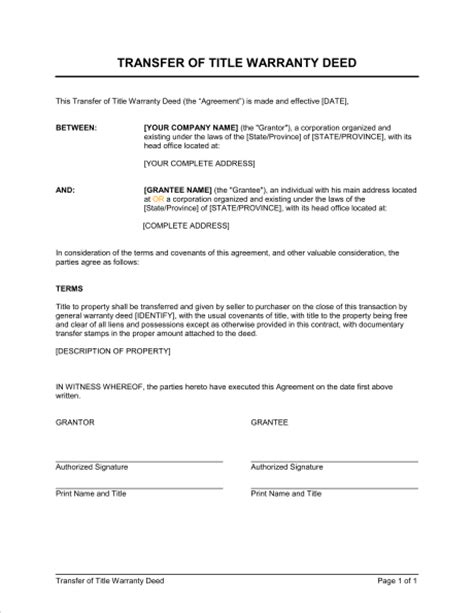 Request Letter For Transfer Of Real Estate Unit Transfer Of Title Warranty Deed Template Sle Form Biztree