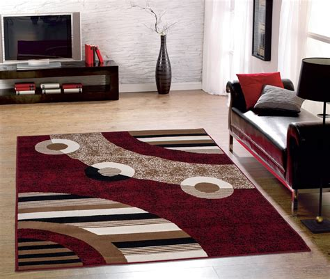 Modern Living Room With Red Color Modern Circles Design Modern Area Rugs For Living Room