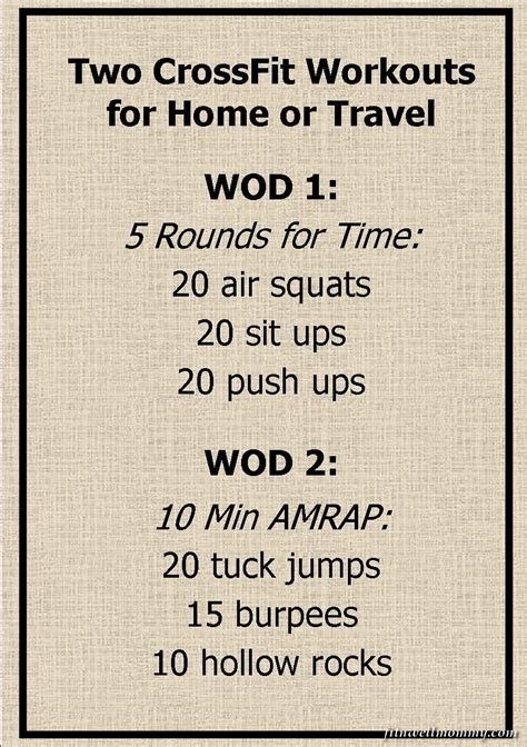 Crossfit At Home by Crossfit Travel Workouts Crossfit Wod