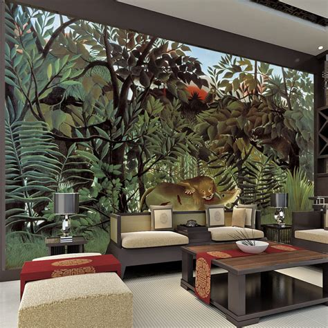 Interior Wall Murals aliexpress com buy rousseau jungle painting wallpaper