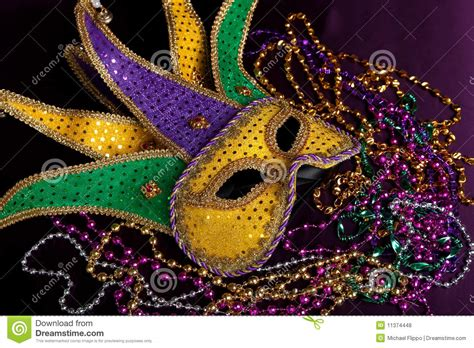 Stairway Design by Mardi Gras Mask And Beads On A Purple Background Royalty