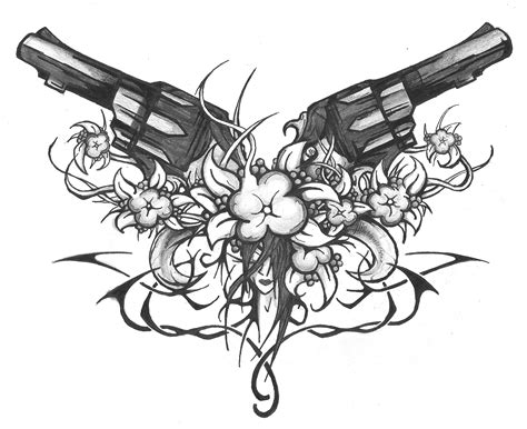 skull rose gun tattoo cross skull gun guns flowers tribes and by