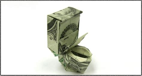 Origami Toilet Bowl - toilet made out of money