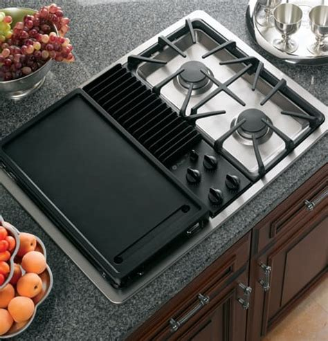 modular gas cooktop ge jgp990selss 30 inch downdraft gas modular cooktop with