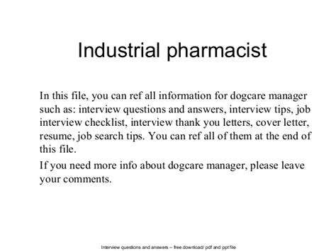 Industrial Pharmacist Cover Letter by Industrial Pharmacist