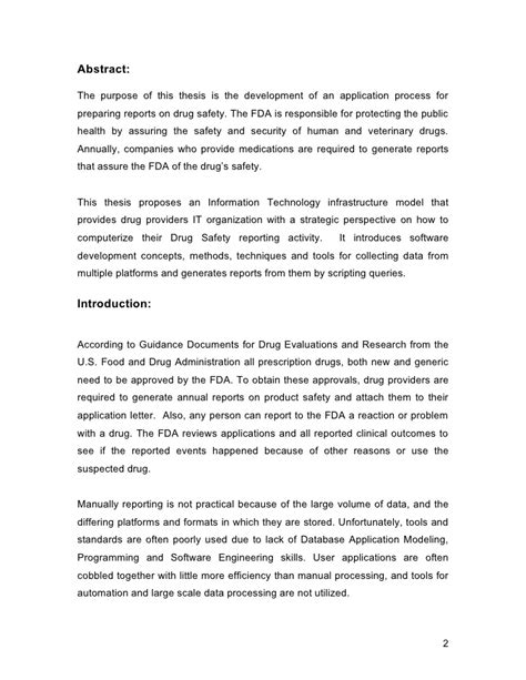thesis advisor en español standardization of drug safety reporting applications