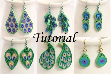 Paper Jewellery Tutorial - peacock design paper quilled earrings tutorial honey s