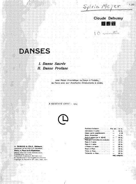 Danses Sacree Et Profane Score danse sacr 233 e et danse profane debussy claude imslp