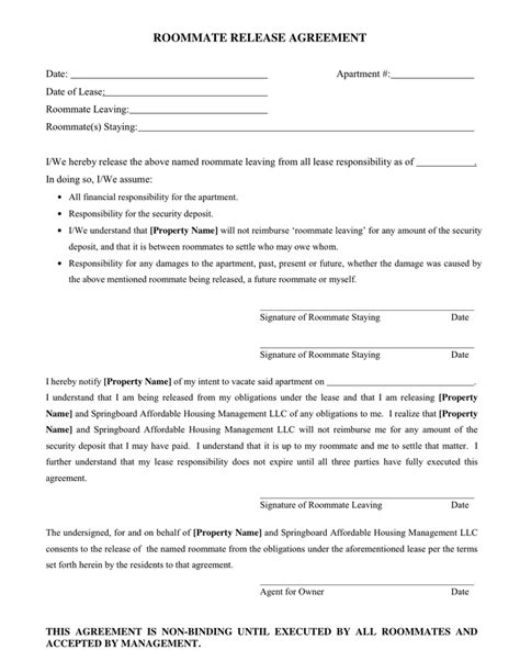 Agreement Release Letter Roommate Release Agreement In Word And Pdf Formats