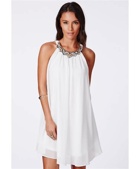 swing dress missguided missguided larita embellished collar swing dress in white