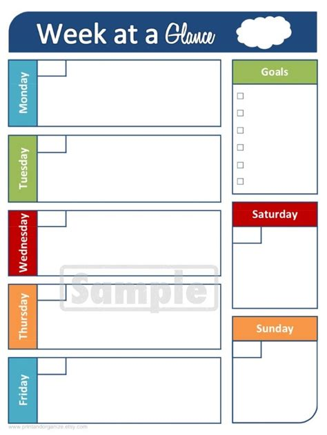 Week At A Glance Printable Calendar Calendar Template 2019 Schedule At A Glance Template