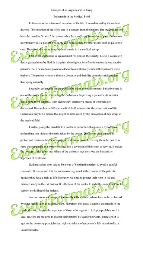 example of argumentative essay with introduction body and conclusion