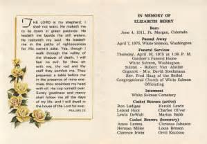 obituary cards templates elizabeth hesse memorial card