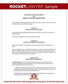 Free Simple Will Template by Simple Will Last Will And Testament Form With Sle