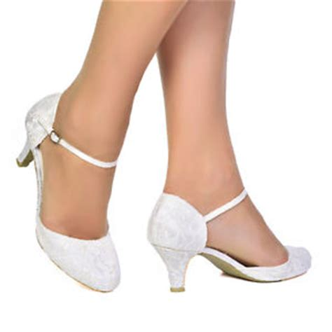Womens Ivory Wedding Shoes by Womens Ivory Satin Lace Low Heel Bridal