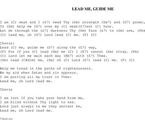lead me guide me christian gospel song lyrics and chords