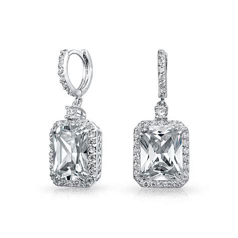 Cubic Drop Earring cubic zirconia emerald cut pave dangle huggie drop earrings