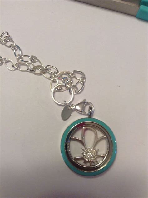 Simple Origami Owl - simple blue with a flower plate and