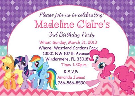 my little pony birthday party invitations baby shower