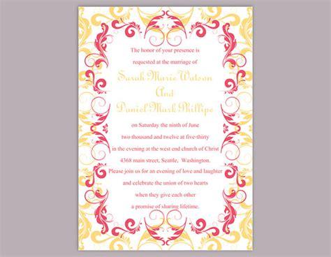 free pink wedding invitation templates diy wedding invitation template editable word file instant