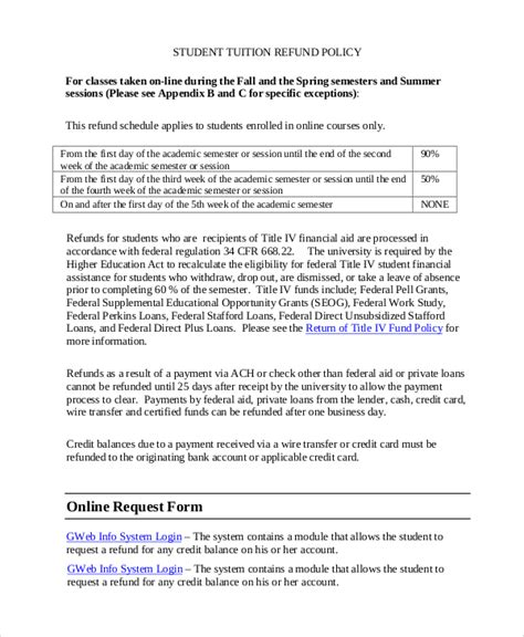 Credit Policy Form Sle Refund Policy 8 Documents In Word Pdf