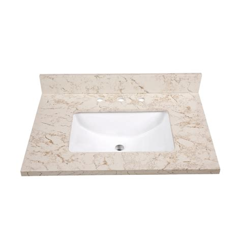 Vanity Top Bathroom Sinks by Shop Allen Roth Marbled Beige Quartz Undermount Single