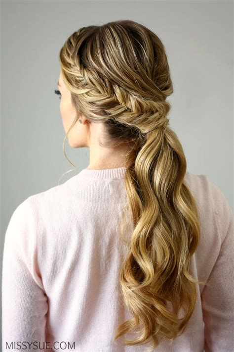 how to braid pinup ponytails fishtail embellished ponytail braided hairstyles