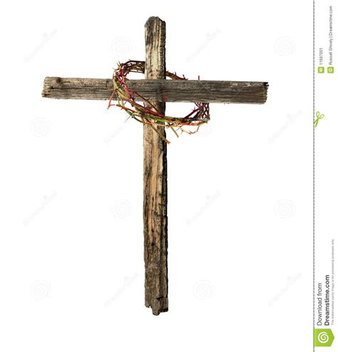 old wooden cross with bloody crown of thorns stock image