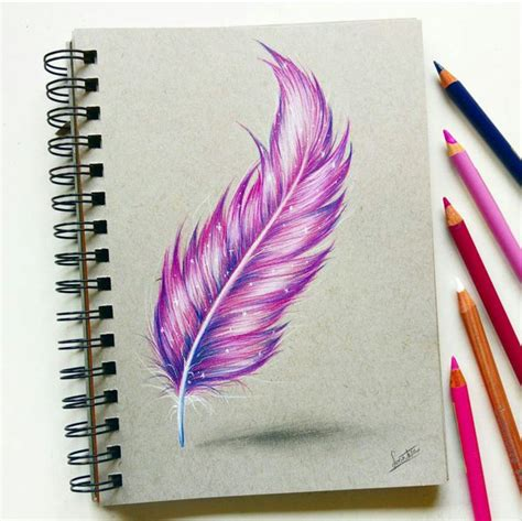 Feather With Colored Pencil By Tinesdierportretten On Colour Drawing