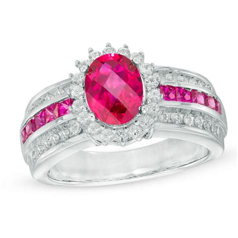 oval lab created ruby and white sapphire frame ring in