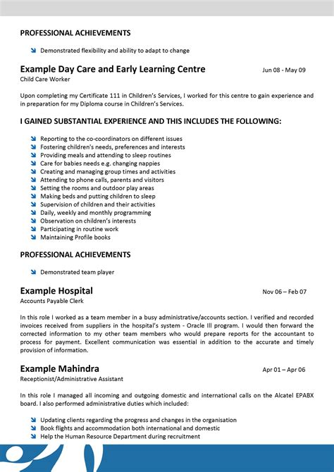 child resume sle child care sle resume for child
