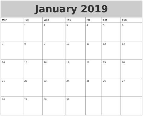 printable calendar january 2019 january 2019 my calendar