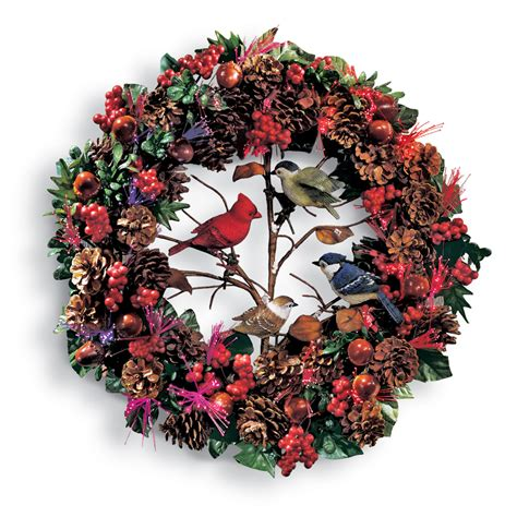 fiber optic woodland christmas bird wreath by collections